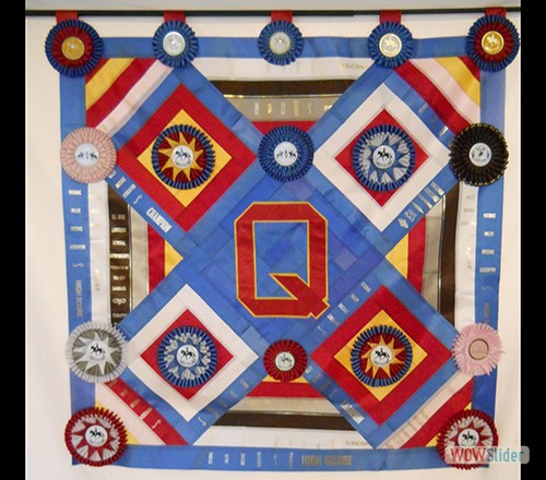 Quilt of ribbons from Q's first show season in 2012